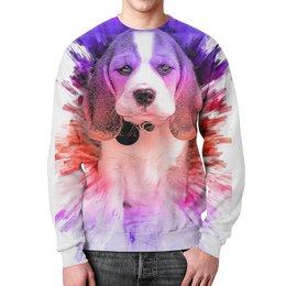"""Свитшот унисекс с полной запечаткой """"Dogs love art"""" - арт, щенок, собака, подарок"""
