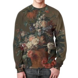 "Свитшот мужской с полной запечаткой ""Ваза с цветами (Ян ван Хёйсум)"" - цветы, картина, живопись, натюрморт, ян ван хёйсум"