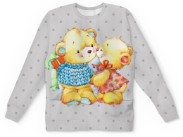 """Свитшот унисекс с полной запечаткой """"Романтичные мишки"""" - подарок, медведи, мишки"""