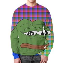 """Свитшот унисекс с полной запечаткой """"SAD FROG"""" - юмор, мем, стиль, грустная лягушка, sad frog"""