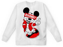 "Свитшот унисекс с полной запечаткой ""Disobey"" - микки маус, mickey mouse, obey, disobey"