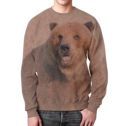 """Свитшот унисекс с полной запечаткой """"Медведь"""" - медведь, животное, коричневый, бурый"""