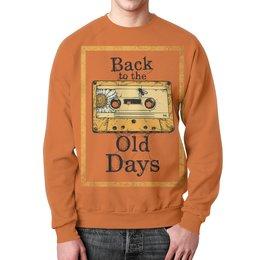 """Свитшот мужской с полной запечаткой """"Old School Art"""" - музыка, old school, старая школа, кассета, аудио кассета"""