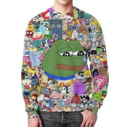 """Свитшот мужской с полной запечаткой """"Pepe Frog"""" - мем, meme, грустная лягушка, sad frog, pepe frog"""