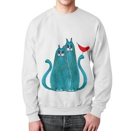 """Свитшот унисекс с полной запечаткой """"Коты и птицы"""" - кот, арт, подарок, школа, птица"""