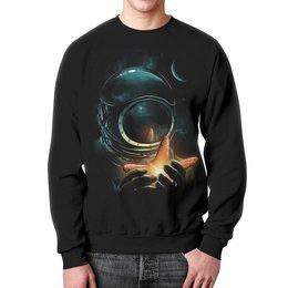"""Свитшот мужской с полной запечаткой """"Outer Space"""" - космос, вселенная, космонавт"""