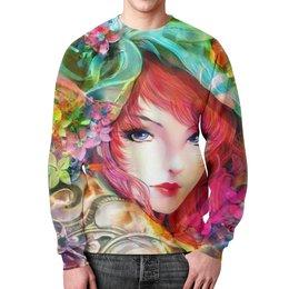 """Свитшот мужской с полной запечаткой """"девушка в цветах."""" - девушка, цветы, фэнтэзи, фиерия"""
