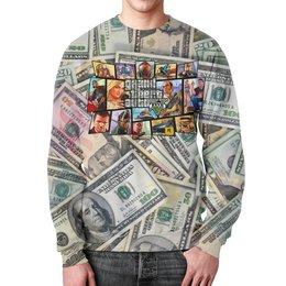 """Свитшот мужской с полной запечаткой """"Grand Theft Auto (Dollars)"""" - деньги, компьютерные игры, гта, автолюбителям, игроманам"""
