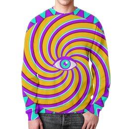 """Свитшот унисекс с полной запечаткой """"HYPNO EYE"""" - optical illusion, оптическая иллюзия, арт, дизайн, графика"""