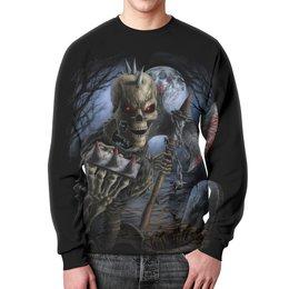 """Свитшот мужской с полной запечаткой """"Скелет с топором"""" - skull, череп, skeleton, скелет, кровь"""