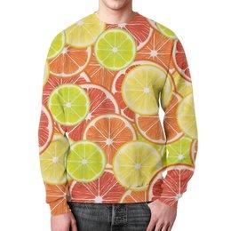 """Свитшот унисекс с полной запечаткой """"Цитрусы"""" - апельсин, лайм, лимон, грейпфрут, дольки"""