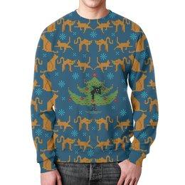 """Свитшот мужской с полной запечаткой """"Котосвитер"""" - кот, новый год, свитер, елка"""