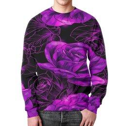"""Свитшот мужской с полной запечаткой """"Розы в цвету"""" - цветы, фиолетовый, весна, цветочки, розы"""