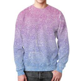 """Свитшот мужской с полной запечаткой """"Узор с градиентом"""" - узор, голубой, розовый, дудл, градиент"""
