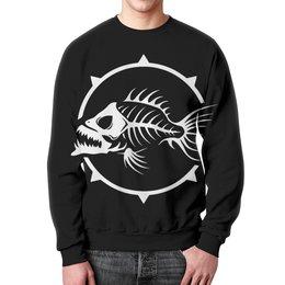 """Свитшот унисекс с полной запечаткой """"Рыба скелет"""" - юмор, пародия, рыбка"""