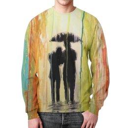 """Свитшот мужской с полной запечаткой """"Абстракция"""" - рисунок, дождь, краски, абстракция, арт дизайн"""