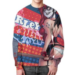 "Свитшот мужской с полной запечаткой ""Харли Квинн (Harley Quinn)"" - арт, dc, харли квинн"