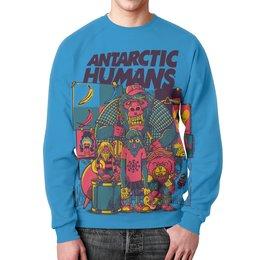 """Свитшот унисекс с полной запечаткой """"Antarctic Humans"""" - животные, обезьяна, рок музыка, рок группа, арт прикол"""