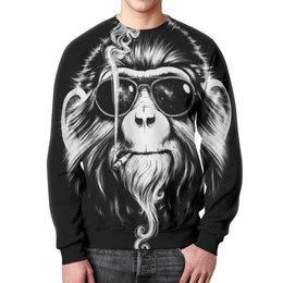 """Свитшот унисекс с полной запечаткой """"Курящая обезьяна"""" - очки, обезьяна, дым, сигарета, смог"""