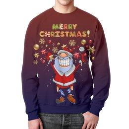 """Свитшот мужской с полной запечаткой """"Merry Christmas! """" - прикол, юмор, новый год, рождество, санта клаус"""