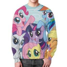 "Свитшот мужской с полной запечаткой ""My Little Pony"" - rainbow dash, my little pony, applejack, friendship is magic, twilight sparkle"