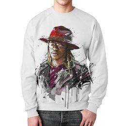 """Свитшот унисекс с полной запечаткой """"Человек в шляпе"""" - человек, шляпа, очки, куртка, арт"""
