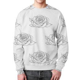 """Свитшот унисекс с полной запечаткой """"Узор роз"""" - цветы, природа, розы, весна, узор"""