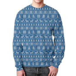 """Свитшот унисекс с полной запечаткой """"Зимний мотив #1"""" - новый год, зима, снежинки, елки, олени"""