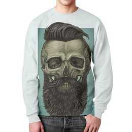 "Свитшот унисекс с полной запечаткой ""Skull Art"" - skull, череп, борода, artwork, арт дизайн"