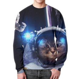 """Свитшот мужской с полной запечаткой """"Кот космонавт"""" - юмор, space, космос, наука, thespaceway"""