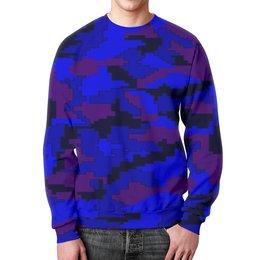 """Свитшот мужской с полной запечаткой """"Blue camouflage"""" - 23 февраля, армия, камуфляж, пиксели, силовые структуры"""
