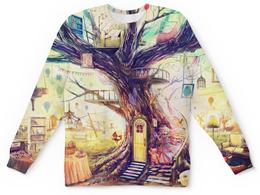 """Свитшот унисекс с полной запечаткой """"Дерево жизни"""" - дерево, девочка"""