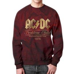 "Свитшот мужской с полной запечаткой ""AC/DC"" - music, rock, золото, хард-рок, асдс"