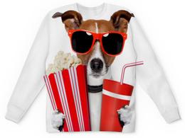 """Свитшот унисекс с полной запечаткой """"Песик"""" - очки, собака, собачка, 3д, попкорн"""