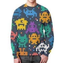 """Свитшот унисекс с полной запечаткой """"Монстры пиксели"""" - minecraft, pacman, монстры, pixel art, пиксели"""