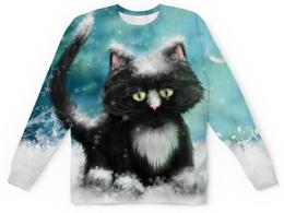 """Свитшот унисекс с полной запечаткой """"Зимний Кот"""" - животные, кошки, коты, котики"""
