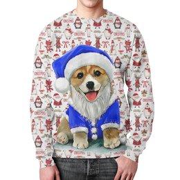 """Свитшот унисекс с полной запечаткой """"Merry Christmas"""" - новый год, зима, дед мороз, снеговик, год собаки"""