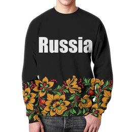 """Свитшот мужской с полной запечаткой """"Russia"""" - цветы, россия, герб, russia, хохлома"""