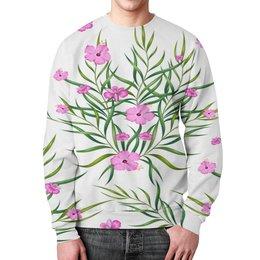 """Свитшот мужской с полной запечаткой """"Тропические цветы"""" - лето, цветы, природа, цветочки, тропики"""
