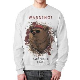 """Свитшот унисекс с полной запечаткой """"Мишка"""" - bear, мишка, warning, опасно медведь"""