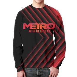 "Свитшот мужской с полной запечаткой ""Metro"" - игры, метро, metro, metro exodus, метро исход"