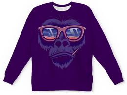 "Свитшот унисекс с полной запечаткой ""СИМВОЛ ГОДА 2016!!!"" - прикол, круто, очки, обезьяна, символ"