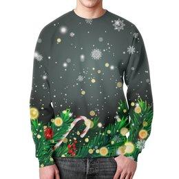 """Свитшот мужской с полной запечаткой """"Падающий снег"""" - новый год, игрушки, подарки, снежинки, елка"""