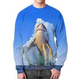 """Свитшот мужской с полной запечаткой """"Shark Team"""" - море, пасть, зубы, рыбы, акула"""