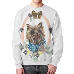"""Свитшот унисекс с полной запечаткой """"йорик """" - арт, собака, йорк, йоркширский, маленькая собака"""