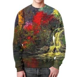 """Свитшот мужской с полной запечаткой """"Водопад"""" - картина, краски, природа, пейзаж, водопад"""