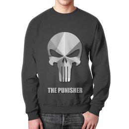 """Свитшот унисекс с полной запечаткой """"Каратель (Punisher)"""" - skull, череп, каратель"""