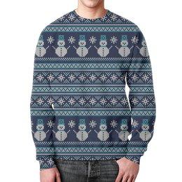 """Свитшот унисекс с полной запечаткой """"Свитер"""" - новый год, узор, снежинки, свитер, снеговик"""