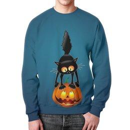 """Свитшот унисекс с полной запечаткой """"Halloween """" - хэллоуин, котик, тыква, ужасы, мистика"""