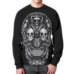 """Свитшот мужской с полной запечаткой """"Skull Art"""" - skull, череп, skeleton, скелет, арт дизайн"""